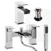 Arian Waterfall Basin Mixer and Bath Shower Mixer Pack with Waste